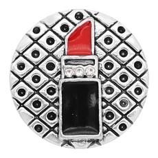Lápiz labial chapado en plata 20MM con encantos de esmalte KC8133 se ajusta a presión