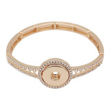 snap Fashion gold Bracelet With white rhinestones fit 20MM snaps style jewelry KC0522