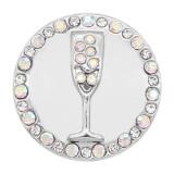 20MM snap gobelet en argent plaqué avec des charmes en strass blancs KC8137 s'enclenche de façon joaillière