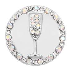20MM copa de plata chapada con encantos de pedrería blanca KC8137 se ajusta a presión