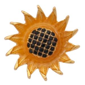 20MM Tamaño pequeño Amarillo girasol snap Chapado en oro con diamantes de imitación KC6825 broches de joyería