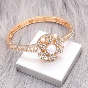 оснастки модный золотой браслет с белыми стразами подходят 20MM защелки в стиле ювелирных украшений KC0522