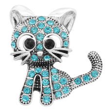 20MM kitten snap silver Plated With Cyan rhinestones charms KC9320 snaps jewerly