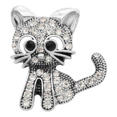 20MM kitten snap silver Plated With white rhinestones charms KC9319 snaps jewerly