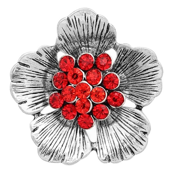 20MM Flowers snap silver Plated With Red rhinestones charms KC8152 snaps jewerly