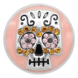 20MM Skull snap silver Plated With  rhinestones Pink enamel charms KC8142 snaps jewerly