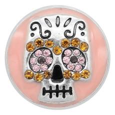20MM Skull snap silver Chapado con diamantes de imitación Charms de esmalte rosa KC8142 se ajusta a presión