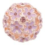 20MM Flowers Karabiner rosé-vergoldet Überzogen Mit lila Strasssteinen Emaille Charms KC8147 Karabiner schmuck
