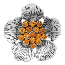 20MM Flowers snap silver Plated With Orange rhinestones charms KC8150 snaps jewerly