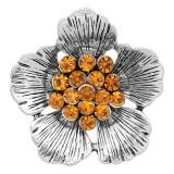 20MM Fleurs bouton-pression argenté avec des charmes de strass orange KC8150 s'enclenche dans les bijoux
