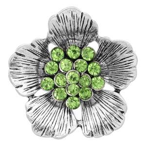 20MM Flowers Snap versilbert Mit grünen Strasssteinen bezaubert KC8153 schnappt edel