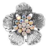20MM Flowers Snap versilbert mit weißen Strasssteinen bezaubert KC8149 schnappt edel