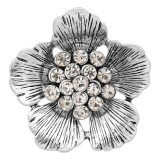 20MM Flowers snap silver Plated With White rhinestones charms KC8148 snaps jewerly
