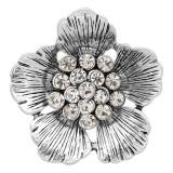 20MM Flowers Snap versilbert mit weißen Strasssteinen bezaubert KC8148 schnappt edel