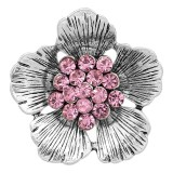 20MM Flowers snap silver Plated With Pink rhinestones charms KC8151 snaps jewerly