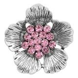 20MM Flowers Snap versilbert mit pinkfarbenen Strasssteinen KC8151 Snaps Jewerly