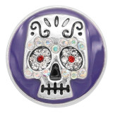 20MM Skull snap silver Plated With  rhinestones Purple enamel charms KC8140 snaps jewerly