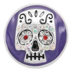 20MM Skull snap silver Chapado con diamantes de imitación Charms de esmalte púrpura KC8140 se ajusta a presión