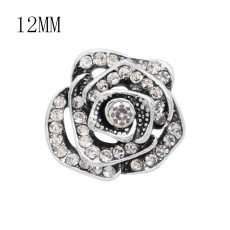 12MM Flowers snap silver Plated With white rhinestones charms KS7149-S snaps jewerly