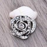 12MM Flores chapadas en plata chapadas con encantos de pedrería blanca KS7149-S se ajusta a la joyería