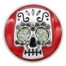 20MM Skull snap silver Chapado con pedrería encantos de esmalte rojo KC8141 se ajusta a presión
