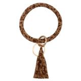 Брелок для ключей Зимний тип Леопард коричневая кожа Большое кольцо Брелок браслет с кисточкой