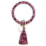Зимний тип Леопардовая роза Кожаный браслет с кольцом для ключей Брелок для ключей браслет с кисточкой