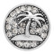 20MM Seaside palm Round metal silver plated snap with White rhinestone KC9269 charms snaps jewelry