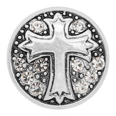20MM cruz redonda chapada en metal plateado con diamantes de imitación blancos KC9271 encantos encajes joyería
