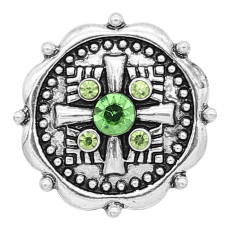 20MM rudder snap Silver Plated With Green rhinestones charms KC8169 snaps jewerly