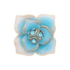 12MM snap gold Plated  Flowers with Blue rhinestones enamel KS7152-S snaps jewerly