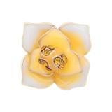12MM Snap vergoldete Blumen mit orangefarbenen Strasssteinen Emaille KS7151-S Snaps Jewerly
