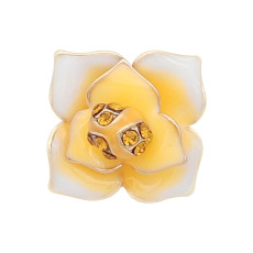 12MM snap gold Plated  Flowers with Orange rhinestones enamel KS7151-S snaps jewerly