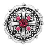 20MM rudder snap Silver Plated With rose-red rhinestones charms KC8168 snaps jewerly