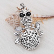 20MM snap Silver Plated With White rhinestones charms KC8166 snaps jewerly