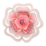 20MM snap Rose gold Plated  Flowers with Pink rhinestones and enamel KC8159 snaps jewerl
