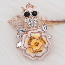 20MM snap Rose gold Plated  Flowers with Orange rhinestones and enamel  KC8158 snaps jewerly