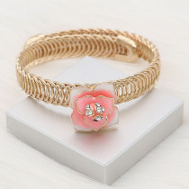 12MM snap gold Plated  Flowers with White rhinestones Pink enamel KS7150-S snaps jewerly