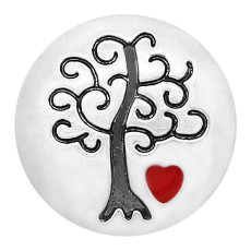 20MM Wisdom Tree snap Silver Plated  enamel of love charms KC8165 snaps jewerly
