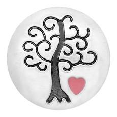 20MM Wisdom Tree snap Encantos plateados de esmalte de amor KC8164 se ajusta a presión