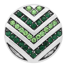 20MM snap Silver Plated With green rhinestones charms KC8167 snaps jewerly