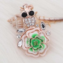 20MM snap Rose gold Plated  Flowers with Green rhinestones and enamel KC8161 snaps jewerly