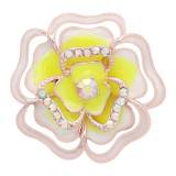 20MM snap Rose gold Plated  Flowers with Yellow rhinestones and enamel KC8162 snaps jewerly
