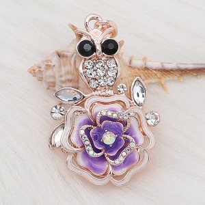 20MM snap Rose gold Plated  Flowers with purple rhinestones and enamel  KC8157 snaps jewerly