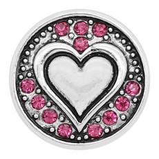 20MM Love snap Chapado en plata con dijes de pedrería rosa roja KC8170 se ajusta a presión