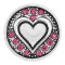 20MM Love snap Silver Plated With rose-red rhinestones charms KC8170 snaps jewerly