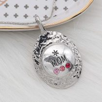 20MM Mom Snap Silver Plated With rose-red strass charms KC8172 snaps jewerly