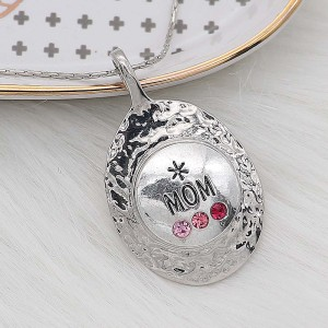 20MM Mom snap Silver Plated With rose-red rhinestones charms KC8172 snaps jewerly