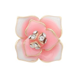 12MM Snap vergoldete Blumen mit weißen Strasssteinen Rosa Emaille KS7150-S Snaps Jewerly
