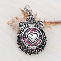 20MM Love snap Silver Plated With rose-red strass charms KC8170 snaps jewerly
